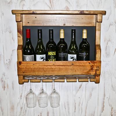 Wine bottle and glass wall mounted