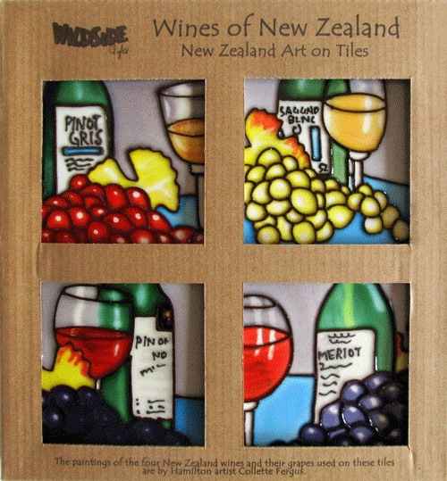 Wines of New Zealand set of 4 10x10cm Ceramic Tiles - Images Transformed