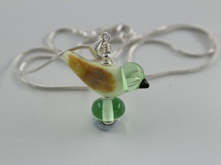 Wingless glass bird pendant - Pale Green
