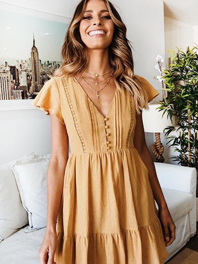 Wista Mini Dress - Mustard