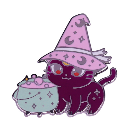 Witches Moon Cat Enamel Pin