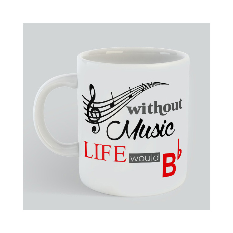 without music life would b flat Mug gift for Musicians music lovers