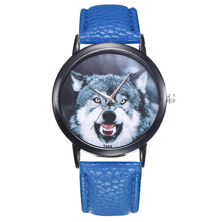 Wolf Growling Watch - Blue Strap