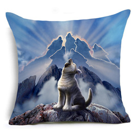 Wolf Howling on Blue Mountain Cushion Cover