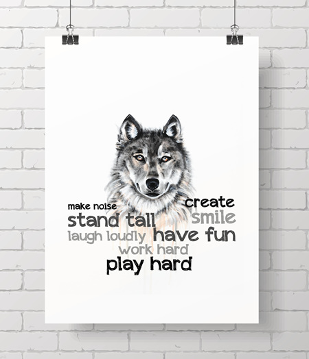 wolf with quote - on A3