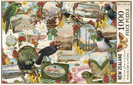 Wolfkamp & Stone - NZ Birds & Vintage Postcards - 1000 Piece Jigsaw Puzzle