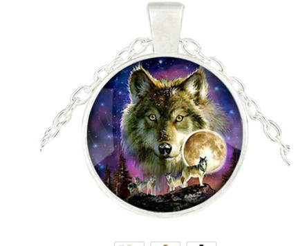 Wolfpack & Moon Pendant Necklace - Silver Chain