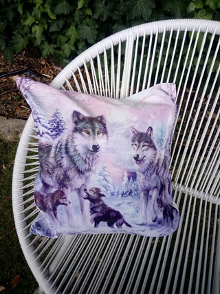 Wolves Cushion Cover Pink/Purple Tones