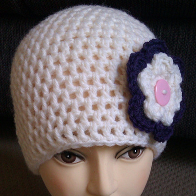 Womans Cream Winter Hat with Flower