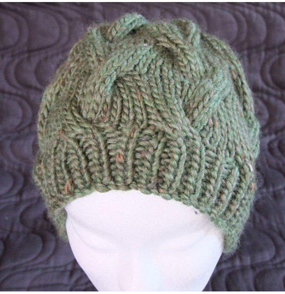 Womans Knitted Cable Slouch Hat