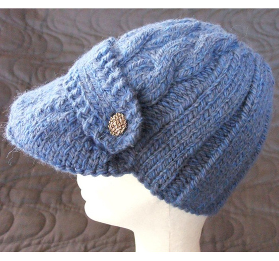 Womans Knitted Capitan Hat - Blue
