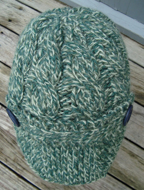 Womans Knitted Capitan Hat - Green