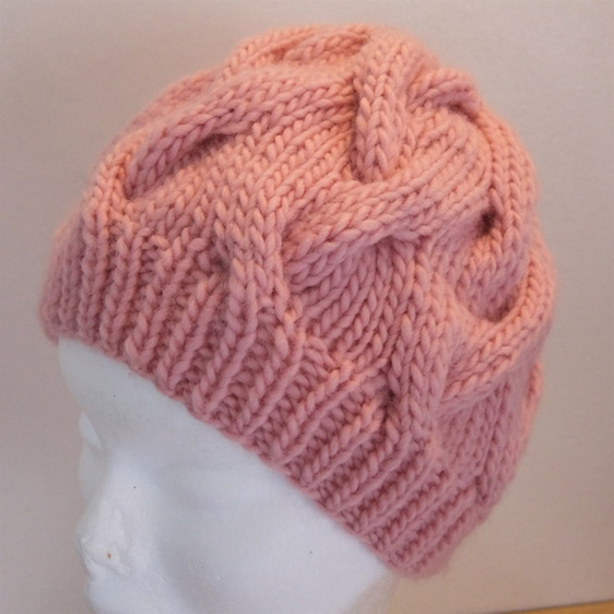 Womans Knitted Slouch Hat - Pink