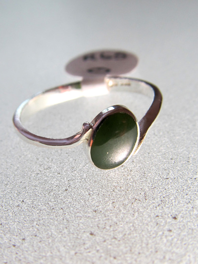R65 Women's oval greenstone oval sterling silver ring