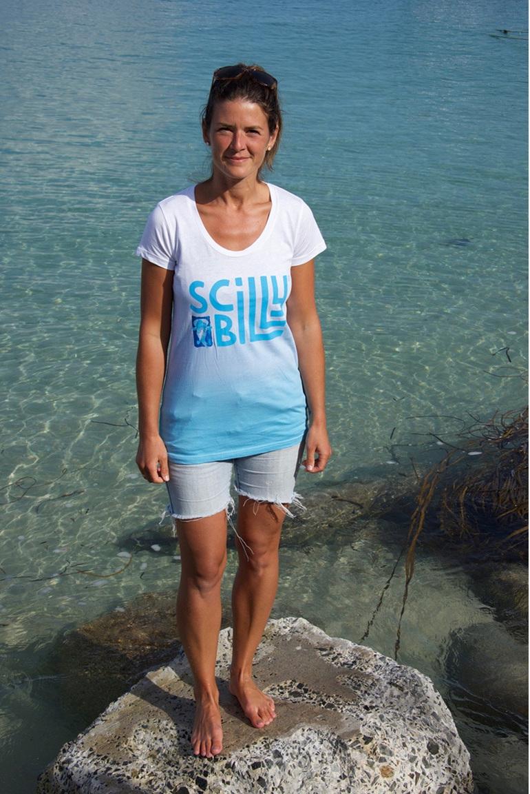 Women's Scilly Billy Logo Tee - Blue Fade