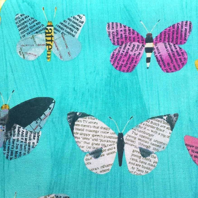 Wonder - Newspaper Butterflies on Aqua