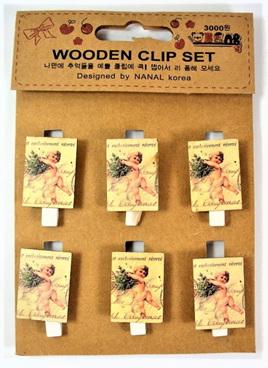 Wooden Clips - Vintage Cherubs