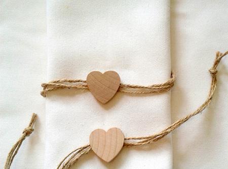 Wooden heart on twine