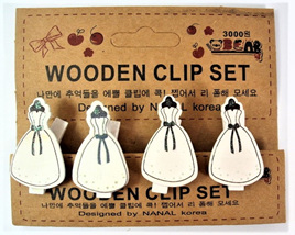 Wooden Stationery Clips - 1950s Dresses