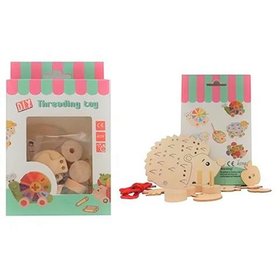 Wooden Threading Set - Hedgehog