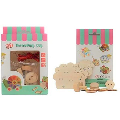 Wooden Threading Set - Sheep