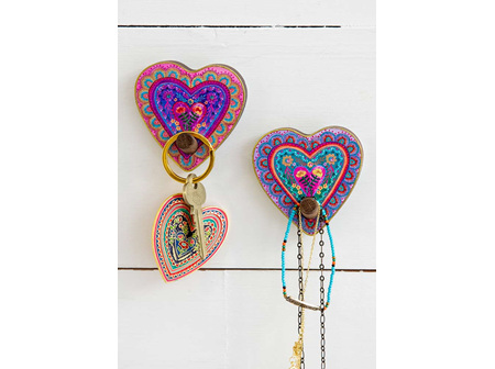 Wooden Wall Hooks-Hearts