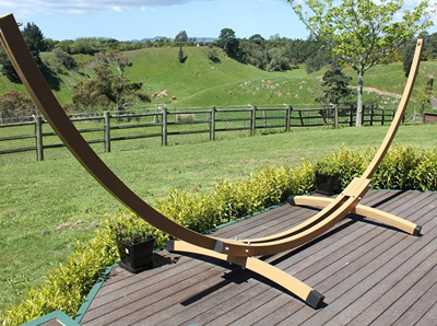 Wood-effect Metal Hammock Stand