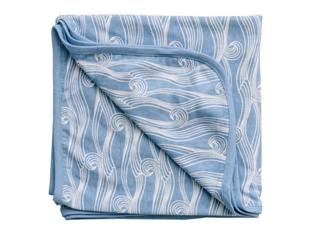 Woolbabe - Earn Living Rewards! - Limited Edition Merino Organic Cotton Swaddle Blanket Summer Waves