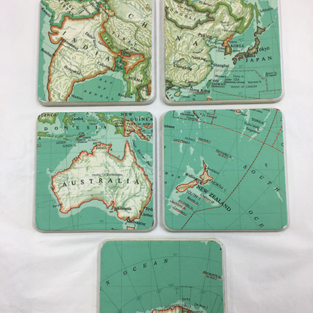 World Map Coasters in Gold Box -  set of 5