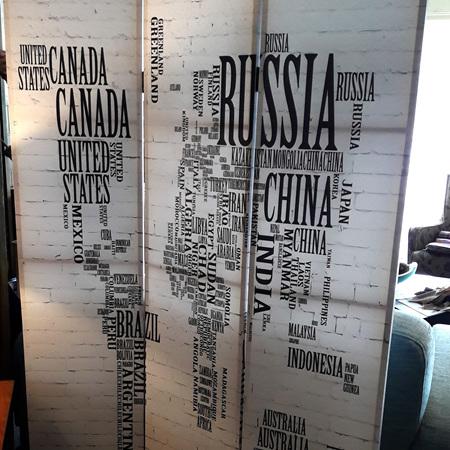 World Map Door Screen $350