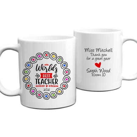 Worlds Best Teacher 1 Personalised Mug