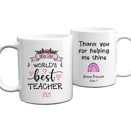 Worlds Best Teacher 2 Personalised Mug