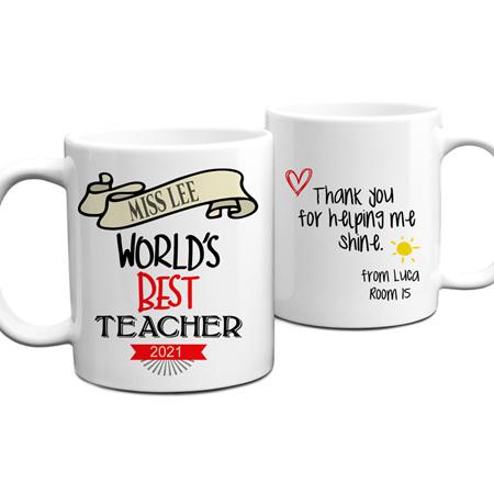 Worlds Best Teacher 3 Personalised Mug