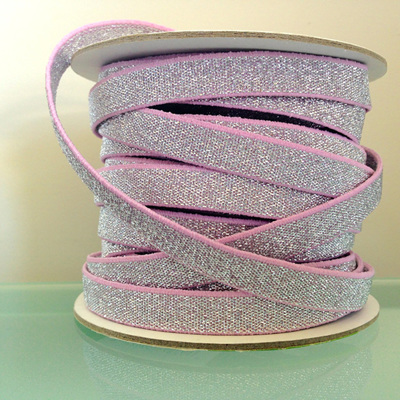 Woven Silver Glitter on Pink Elastic
