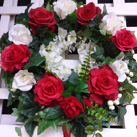 Wreath Red and White Roses