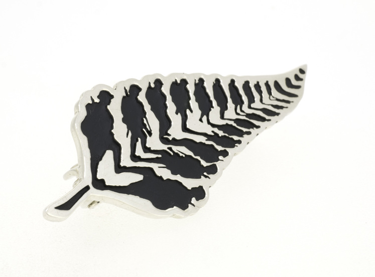 WW100 Nga Tapuwae limited edition sterling silver pin at Te Papa