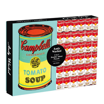 Galison 500 Piece Two Sided Jigsaw Puzzle: Andy Warhol Soup Can