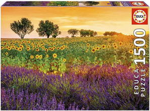 Educa  1500 Piece Jigsaw Puzzle: Field Of Sunflowers And Lavender