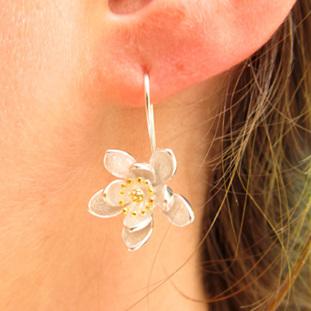 X10 Sterling Silver Traveller's Joy drop earrings