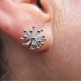 X15 Pohutukawa silver stud earrings