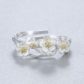X24 Silver Flowers Ring