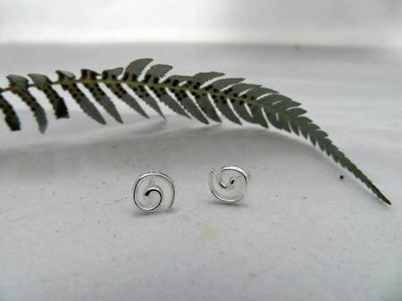 X32 Koru Stud Earrings, sterling silver