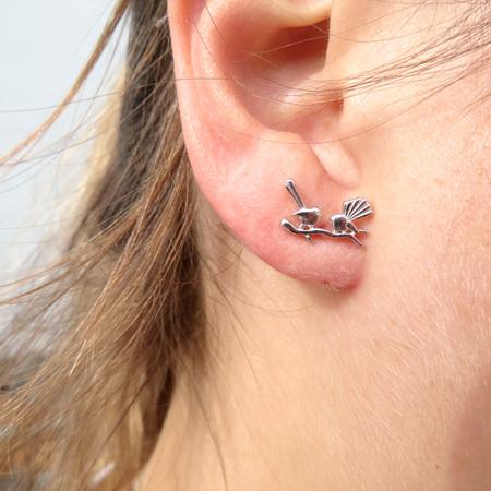 XP21 Sterling Silver Fantail Stud Earrings