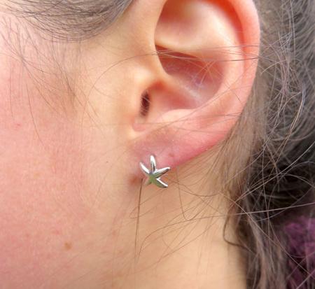 XP27 Sterling silver starfish stud earrings