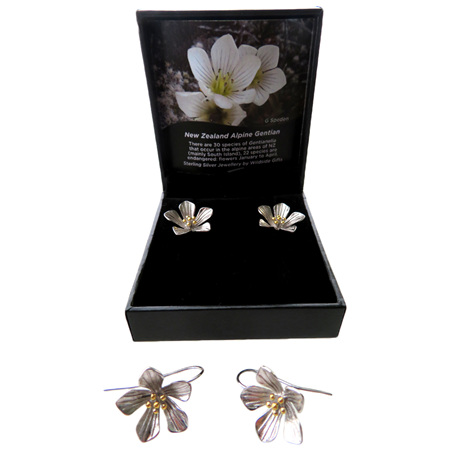 XP40 Sterling Silver New Zealand Alpine Gentian flower drop earrings