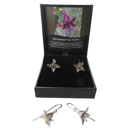 XP42 Sterling Silver NZ Fuchsia flower drop earrings