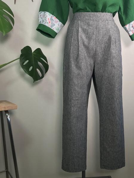 Yarn dyed pleat pants