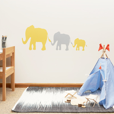 Yellow and grey dotty elephants wall decal