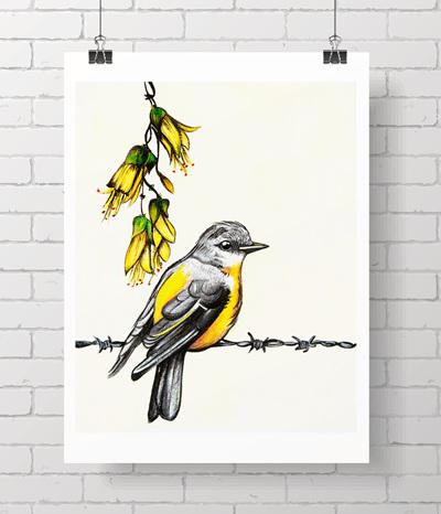 yellow bird and kowhai