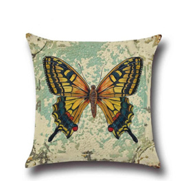 Yellow & Black Butterfly Cushion Cover